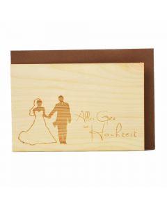 Holzgrußkarte zur Hochzeit 10x15cm