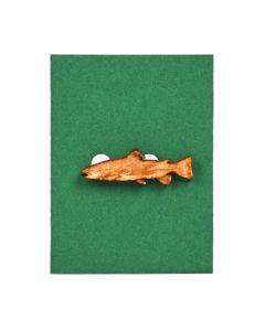 Anstecknadel aus Holz Forelle für Petrijünger