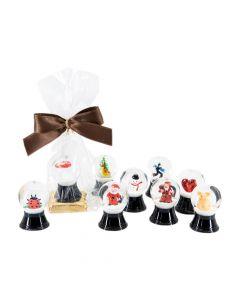 XMas oder Neujahr Miniatur Schneekugel auf Schokolade 7g