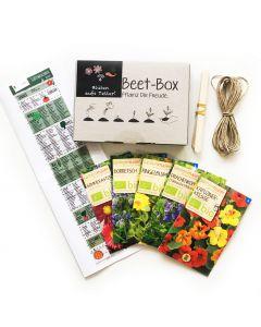 Bio Beet Box - Blüten aufs Teller - Saatgut Set inklusive Pflanzkalender und Zubehör