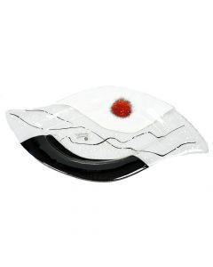 Glasschale schwarz-weiß-rot