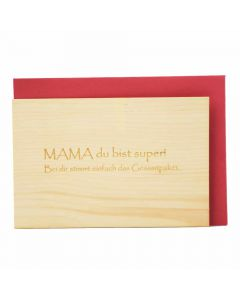 Holzgrußkarte Mama du bist super 10x15cm