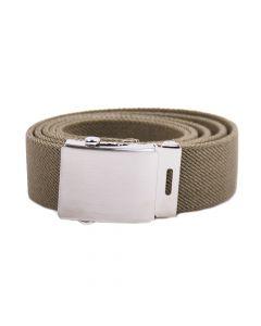 Handgefertigter elastischer Gürtel mit Koppelschnalle - Oliv- 35mm Breite
