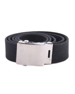 Handgefertigter elastischer Gürtel mit Koppelschnalle - Dunkelgrau- 35mm Breite