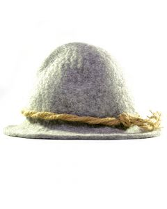 Handgefertigter Filzhut - grau mit naturfarbener Kordel