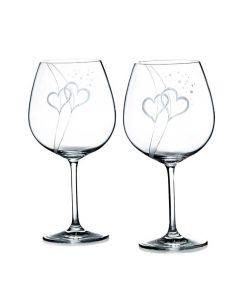 Handgravierte Hochzeitsgläser Wein 2er Set mit Hochzeitsmotiv und Namensgravur