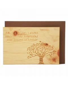 Holzgrußkarte Baum des Lebens 10x15cm