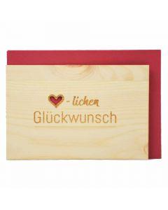 Holzgrußkarte Herzlichen Glückwunsch 10x15cm