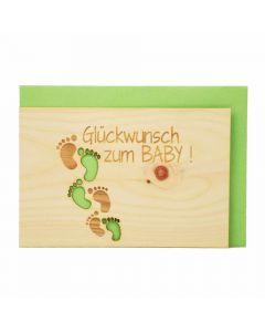 Holzgrußkarte zur Geburt 10x15cm