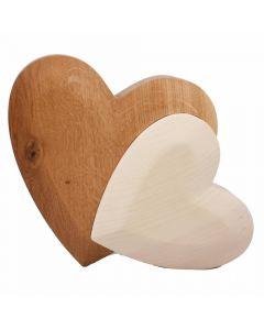 Doppel Herz Zirbenholz Eichenholz 14cm x 16cm