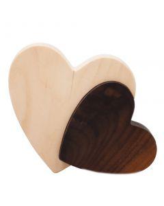 Doppel Herz Zirbenholz Nussholz 10cm x 12cm