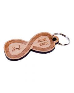 Holz Schlüsselanhänger 60mm x 30mm Unendlich mit Wunschgravur
