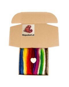 Regenbogen Filzwolle- 18 Farben sortiert im Vlies gerissen