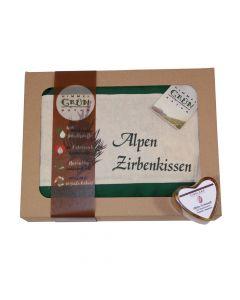 Zirben Set Seife 84g und Kissen 30x22cm mit Geschenksverpackung