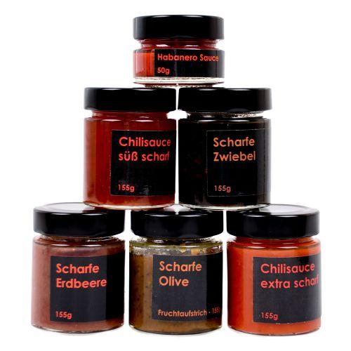 Geschenkbox Alles Scharfe zum Geburtstag Saucen und Fruchtaufstriche 6x155g